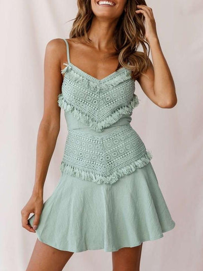 Fashion Lace Macrame Vest Skater Dresses