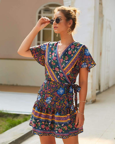 Fashion Sexy Print V neck Short sleeve Lacing Skater Dresses