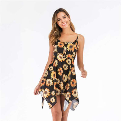 Fashion Sleeveless Round neck Irregular Vest Shift Dresses