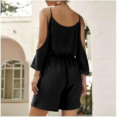 Casual Off shoulder V neck Lacing Vest Jumpsuits