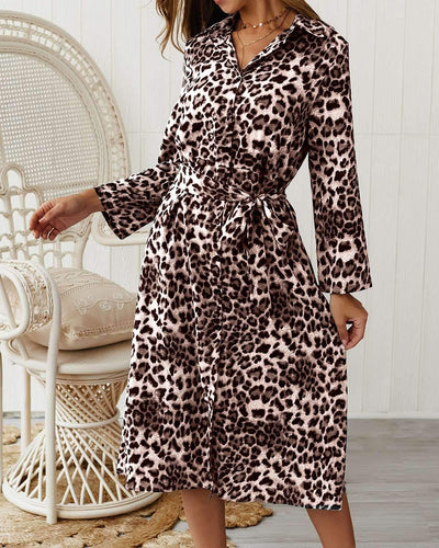 Casual Leopard print Long sleeve Skater Dresses