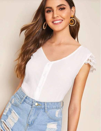 Sexy lace Gored Backless V neck Blouses