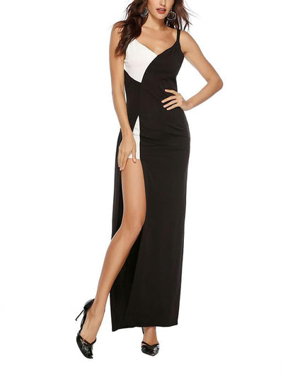 Sexy black and white v-neck slit straps evening dresses