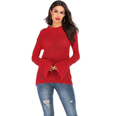 Fashion Plus Knit Hollow out Mandarin sleeve Sweaters