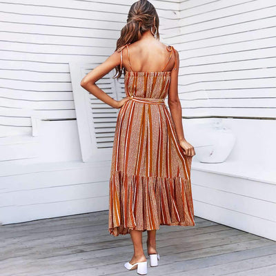 Fashion Drape Loose Print Vest Skater Dresses