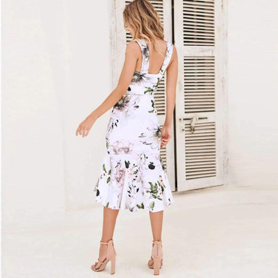 Fashion Sexy Print  Falbala Bodycon Dresses