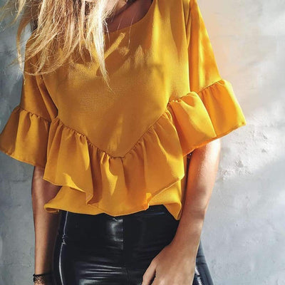 Fashion Pure Loose Round neck T-Shirts