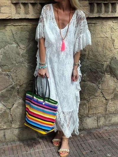 Casual Pure V neck Lace Short sleeve Vacation Dresses
