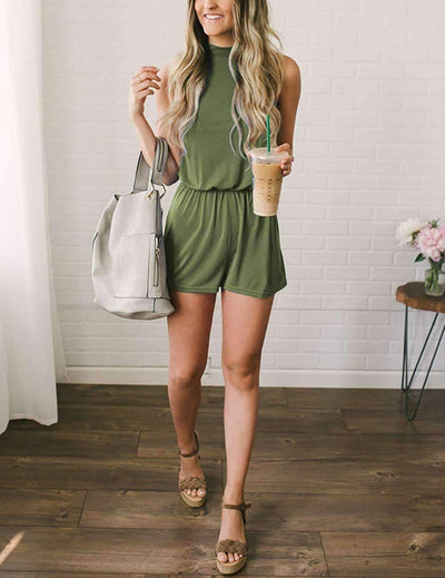 Fashion Pure Sleeveless Jumpsuits