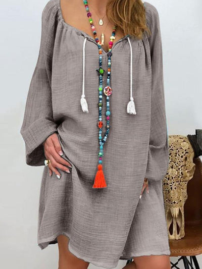 Plain Loose Casual Women Plus Size Long Sleeve Maxi Dresses