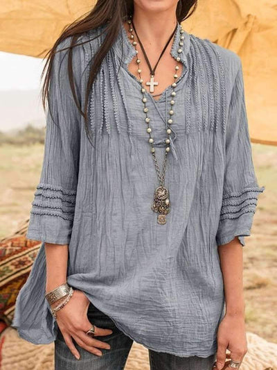 Casual Pure V neck Drape Blouses
