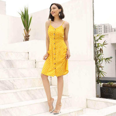 Fashion Sexy Point Vest Skater Dresses