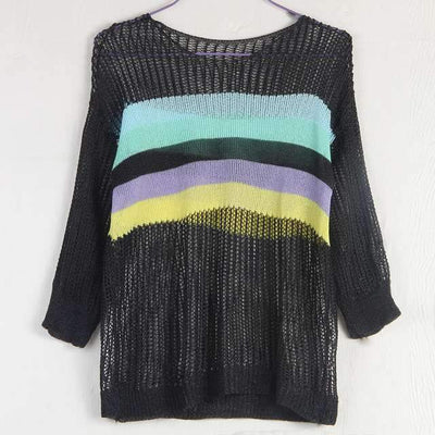 Fashion Knit Gored Round neck T-Shirts