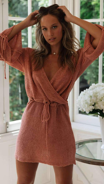 Loose V neck Knit Lacing Skater Dresses