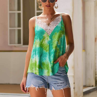 Fashion Print Lace  V neck Vests