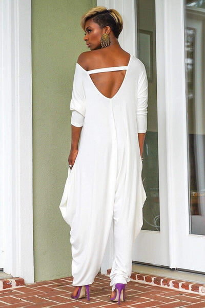 Casual Loose Pure Backless Long sleeve Jumpsuits