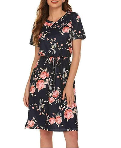 Casual Lacing Print Short sleeve Skater Dresses