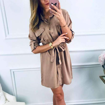 Casual Lapel Lacing Skater Skirt Dresses