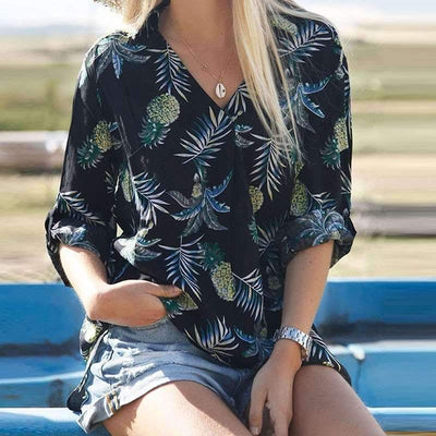 Casual Print V neck Long sleeve Blouses