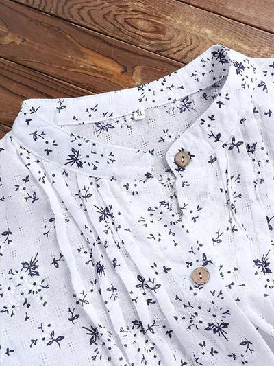 Spring New Cotton and Linen Flower Printing Long Blouses