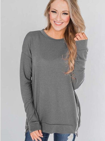 Fashion Loose Round neck Zipper Hoodies & Sweatshirts