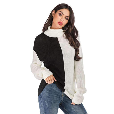 Loose Plus Long sleeve High collar Sweaters