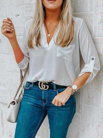 Loose V neck Pocket Blouses
