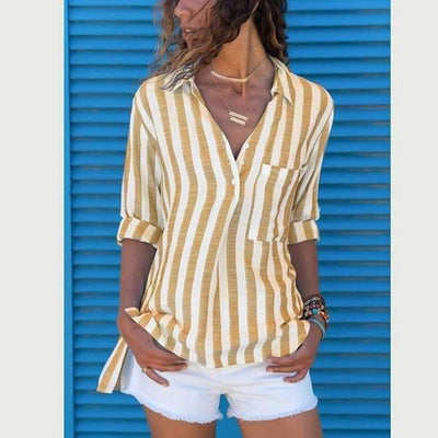 Casual V-Neck Long Sleeve Stripe Women's Blouse