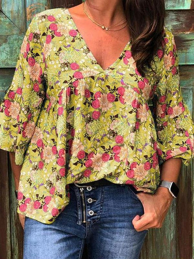 V Neck Floral Printed Casual Women Blouses