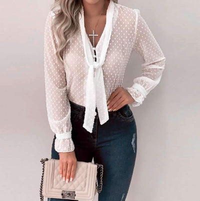 Fashion Necktie Fastener Long sleeve Blouses