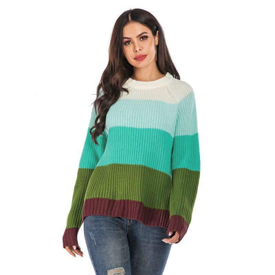 Fashion Stripe Knit Round neck Sweaters
