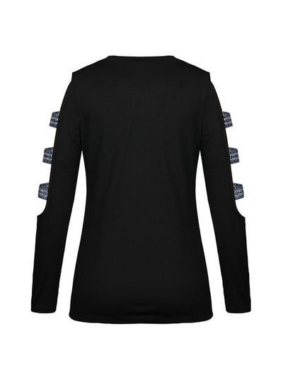 Slim round neck solid long sleeve Hollow out T-shirt