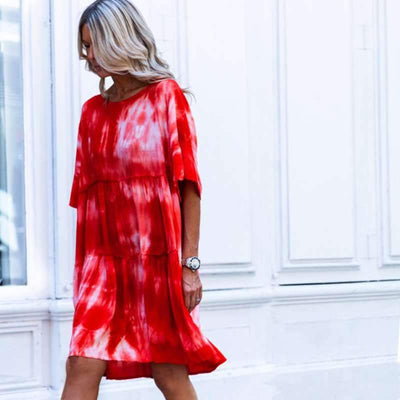 Fashion Print Drape Half sleeve Shift Dresses