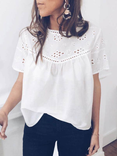 White Sweet Cutout Flower Women Casual T-shirts