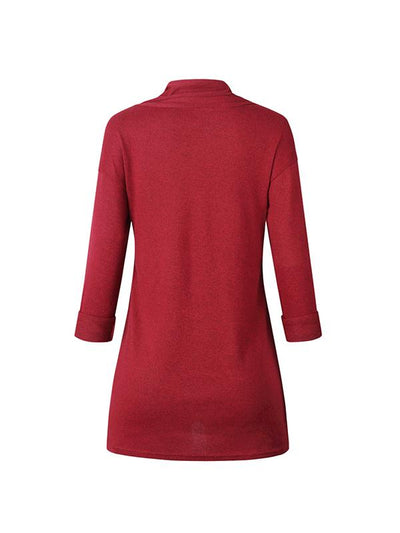 Long Sleeve High Collar Button Daily T-shirts
