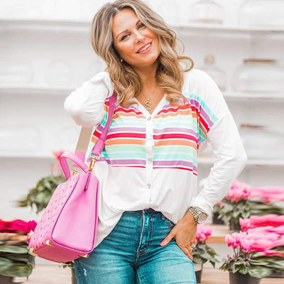 Loose Stripe V neck Long sleeve Cardigan Blouses