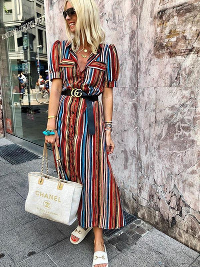 Fashion Chic Women Printed Colorful Stripe Turn down collar Maxi Dresses
