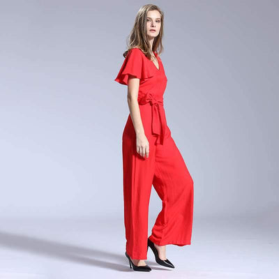 Fashion Casual Pure V neck Short sleeve Lacing Jumpsuits