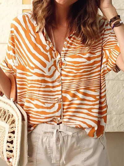 Zebra Stripe Printed Turn Down Collar Short Sleeve Blouses