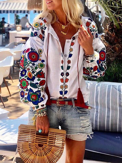 Floral Casual Printed Long Sleeve Blouses