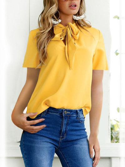 Fashion Tie Short Sleeve Woman Bowknot Blouses
