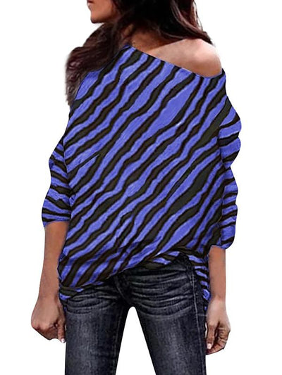 Fashion Sexy Off Shoulder Zebra Printed Long Sleeve T-shirts