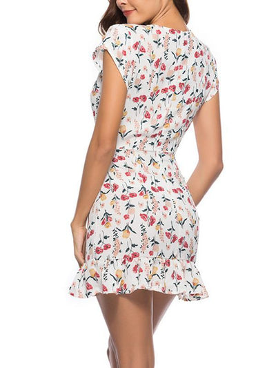 Fashion Chic Women V neck Printed Skater Mini Dresses