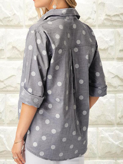Fold Over Collar Single Breasted Patchwork Polka Dot Blouses