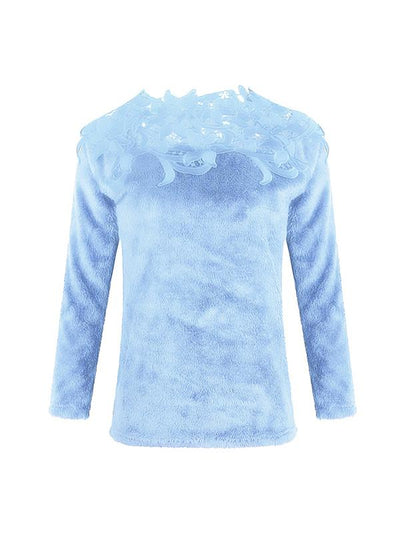 Asymmetric Neck Decorative Lace Plain Woman Sweaters