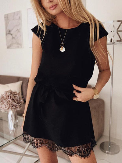 Summer short sleeve loose round collar plain lace shift dresses