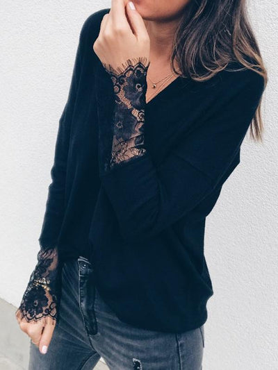 V Neck Lace Sleeve Plain Long Sleeve Woman Daily T-shirt