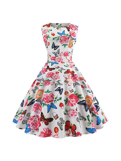Round Neck Floral Printed Skater Dress