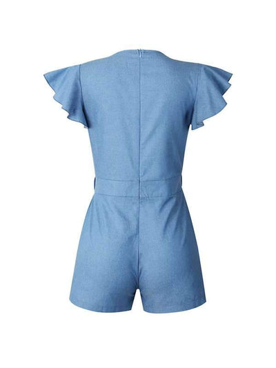 Stylish denim blue pocket flounce women's jumpsuit