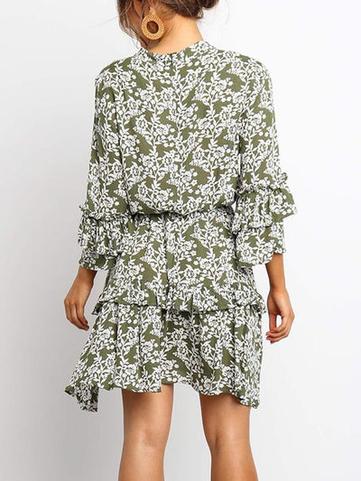 Floral printed high-waisted chiffon women vacation dresses